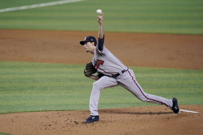 Atlanta Braves' Max Fried delivers a pitch during the first inning of a baseball game against the Miami Marlins, Saturday, June 12, 2021, in Miami. (AP Photo/Wilfredo Lee)