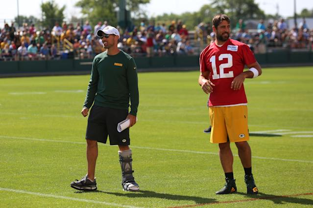 Green Bay Packers quarterback Aaron Rodgers (12) and Green Bay Packers head coach Matt LaFleur at training camp. (Getty Images)