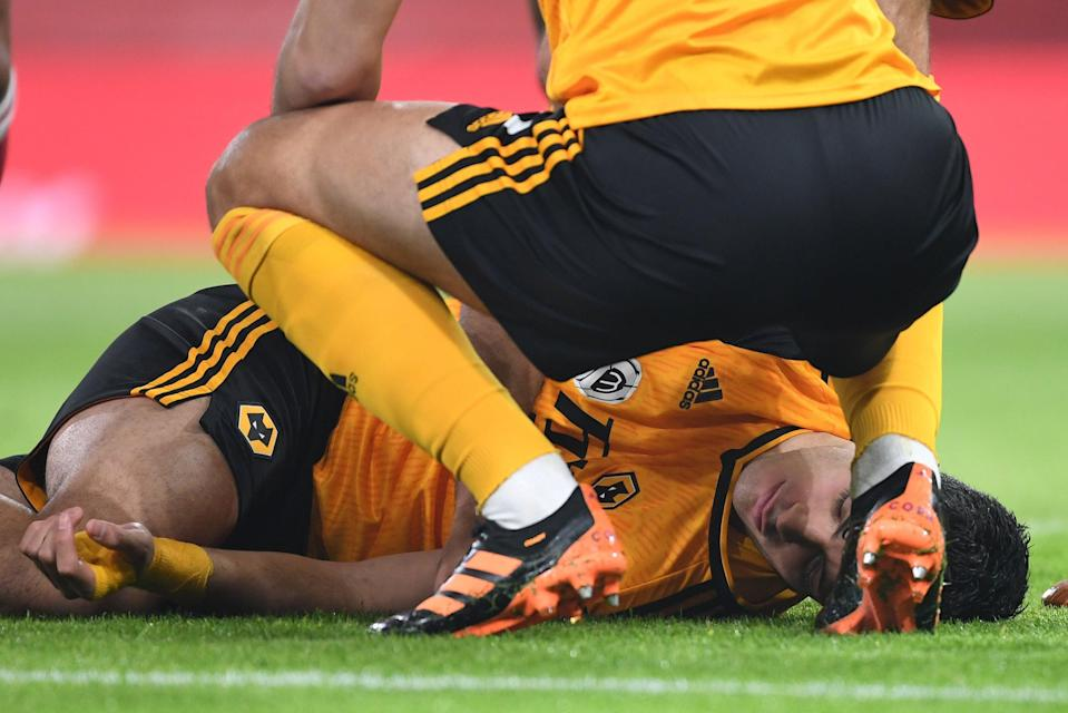 <p>Wolves striker Raul Jimenez suffered a fractured skull during Sunday's win over Arsenal</p> (Arsenal FC via Getty Images)