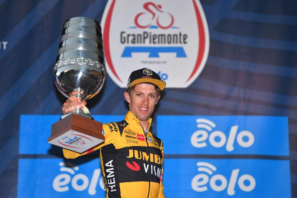 BAROLO ITALY 12 AUGUST Podium George Bennett from New Zealand and Team JumboVisma Celebration Trophy during the 104th Giro del Piemonte 2020 a 187 km race from Santo Stefano Belbo to Barolo 294 m GranPiemonte GranPiemonte on 12 August 2020 Barolo Italy Photo by Tim de WaeleGetty Images