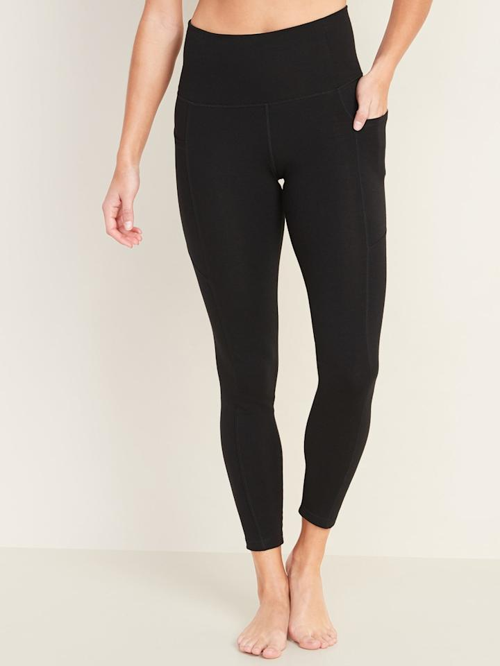 """<p>You'll want to do everything in these <a href=""""https://www.popsugar.com/buy/Old-Navy-High-Rise-Balance-78-Length-Side-Pocket-Leggings-553215?p_name=Old%20Navy%20High-Rise%20Balance%207%2F8-Length%20Side-Pocket%20Leggings&retailer=oldnavy.gap.com&pid=553215&price=30&evar1=fit%3Auk&evar9=45713544&evar98=https%3A%2F%2Fwww.popsugar.com%2Ffitness%2Fphoto-gallery%2F45713544%2Fimage%2F47271427%2FOld-Navy-High-Rise-Balance-78-Length-Side-Pocket-Leggings&list1=shopping%2Cworkout%20clothes%2Cleggings%2Cathleisure&prop13=api&pdata=1"""" rel=""""nofollow"""" data-shoppable-link=""""1"""" target=""""_blank"""" class=""""ga-track"""" data-ga-category=""""Related"""" data-ga-label=""""https://oldnavy.gap.com/browse/product.do?pid=553286002&amp;pcid=999&amp;vid=1#pdp-page-content"""" data-ga-action=""""In-Line Links"""">Old Navy High-Rise Balance 7/8-Length Side-Pocket Leggings</a> ($30).</p>"""