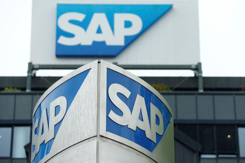 FILE PHOTO - The logo of German software group SAP is pictured at its headquarters in Walldorf