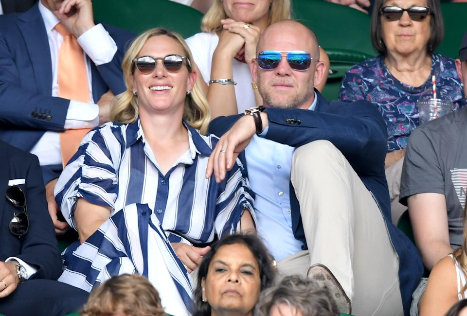 LONDON, ENGLAND - JULY 10:  Mike Tindall and Zara Phillips attend day 9 of the Wimbledon Tennis Championships at All England Lawn Tennis and Croquet Club on July 10, 2019 in London, England. (Photo by Karwai Tang/Getty Images)