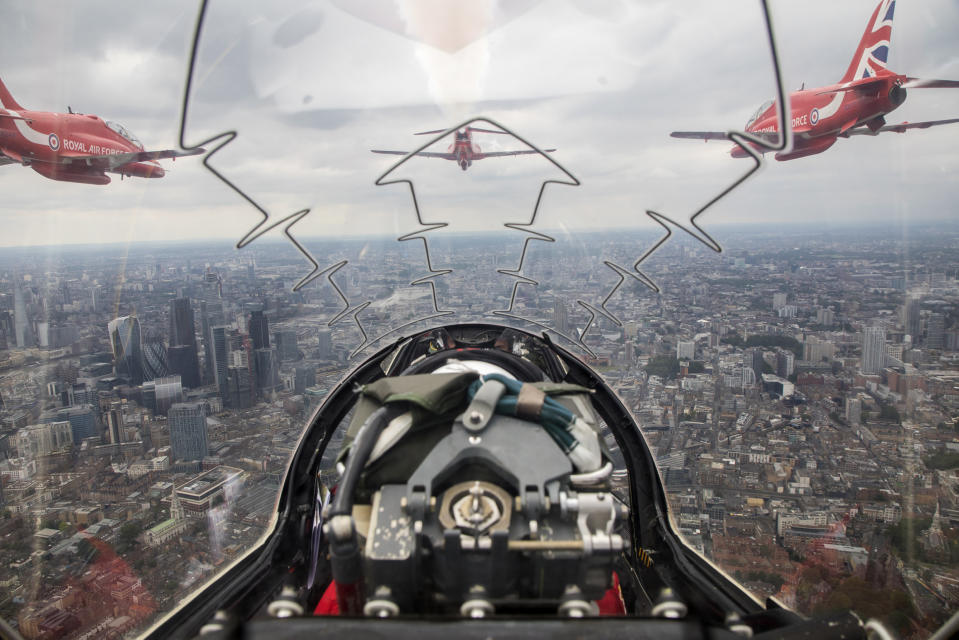 Image of a Red Arrows flypast over London, taken from Red 10's aircraft, piloted by Sqn Ldr Adam Collins with Cpl Ashley Keates, team photographer in the rear (Picture: UK MOD/Crown 2019)