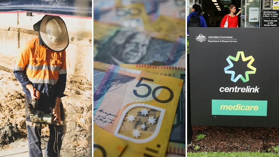 Pictured: Apprentice tradie, Australian cash, Centrelink sign. Images: Getty