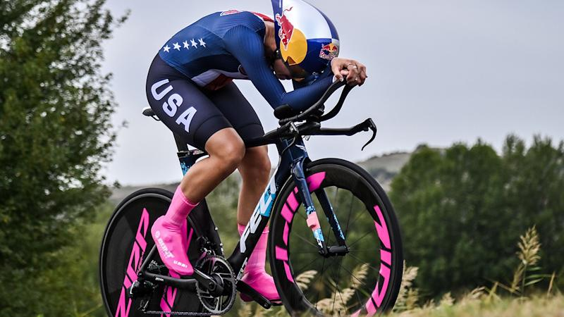 Chloe Dygert, pictured here in action during the Women's Elite Individual Time Trial in Italy.