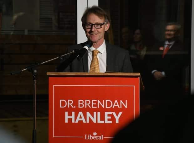 Liberal Brendan Hanley, speaking to supporters after being elected Yukon MP on Monday,saidhe's ready to start building relationships and working with Yukoners. (Jackie Hong/CBC - image credit)
