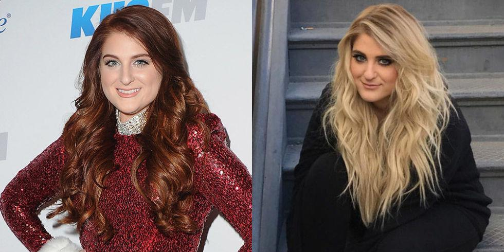 """<p>The """"No"""" singer revealed that she's dyed her auburn hair blonde in her most recent Instagram pics, a look that's totally familiar to fans who have been following her since she rocked the same look in her """"All About That Bass"""" days.</p>"""
