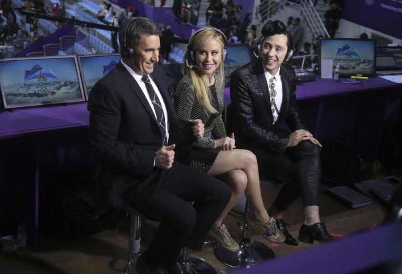 Terry Gannon, Tara Lipinski and Johnny Weir in PyeongChang