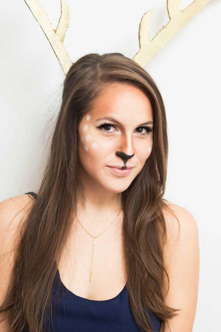 "<p>Oh deer — only have make-up to use as face paint? With brown and white eye shadows and a black eye-liner pen, you can pull of this convincing deer makeup.</p><p><em><a href=""https://www.cosmopolitan.com/style-beauty/beauty/how-to/a44056/halloween-makeup-looks/"" rel=""nofollow noopener"" target=""_blank"" data-ylk=""slk:See more at Cosmopolitan »"" class=""link rapid-noclick-resp"">See more at Cosmopolitan »</a></em></p>"