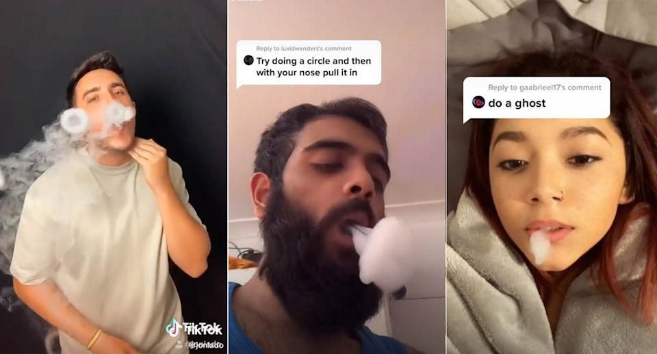 Screenshots of three videos from TikTok of people forming shapes using the vapour from a vape.