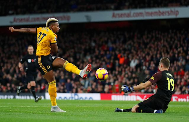 """Soccer Football - Premier League - Arsenal v Wolverhampton Wanderers - Emirates Stadium, London, Britain - November 11, 2018 Wolverhampton Wanderers' Adama Traore shoots at goal REUTERS/Eddie Keogh EDITORIAL USE ONLY. No use with unauthorized audio, video, data, fixture lists, club/league logos or """"live"""" services. Online in-match use limited to 75 images, no video emulation. No use in betting, games or single club/league/player publications. Please contact your account representative for further details."""