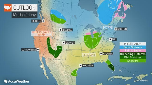 The eastern two-thirds of the U.S. faces unseasonably cold temperatures, and snow in some parts on Mother's Day, while the West faces a blast of hot air, according to AccuWeather.