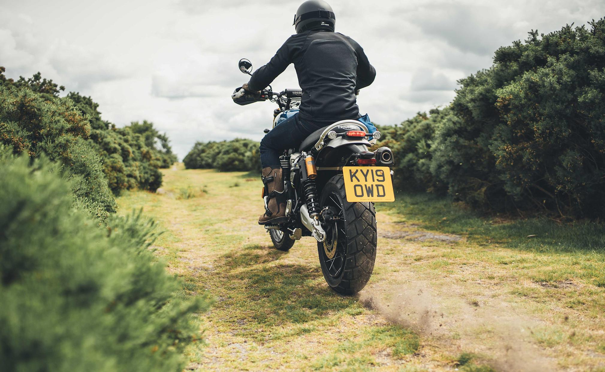 An advanced traction control system helps the bike off-road