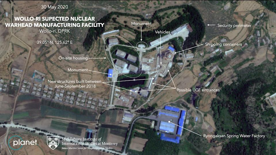 The satellite images show a series of signatures of a North Korean nuclear facility, researchers say. Source: Middlebury Institute of International Studies/ Planet Labs