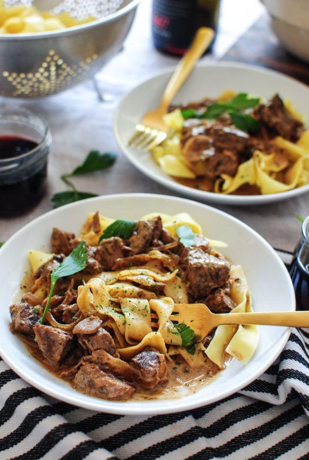 """<strong>Get the <a href=""""http://bevcooks.com/2016/11/slow-cooker-beef-stroganoff/"""" target=""""_blank"""">Slow Cooker Beef Stroganoff recipe</a>from Bev Cooks</strong>"""