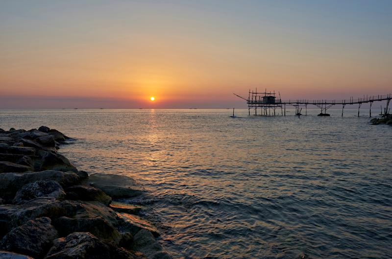 Trabocco Turchino at sunrise. Trabocchi coast. San Vito Chietino. Abruzzo. Italy. (Photo by: Lorenzo Mattei/REDA&CO/Universal Images Group via Getty Images)