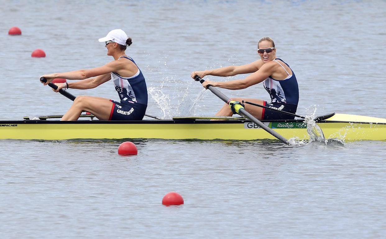 Britain's Heather Stanning (L) and Britain's Helen Glover row to win the Women's Pair final rowing competition at the Lagoa stadium during the Rio 2016 Olympic Games in Rio de Janeiro on August 12, 2016. / AFP / Damien MEYER        (Photo credit should read DAMIEN MEYER/AFP via Getty Images)