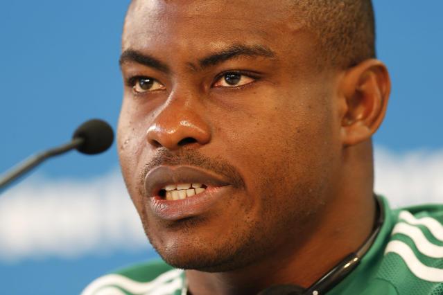 Nigeria's goalkeeper Vincent Enyeama speaks during a news conference at Beira-Rio Stadium in Porto Alegre, Brazil, Tuesday, June 24, 2014. Nigeria plays in group F of the 2014 soccer World Cup. (AP Photo/Victor R. Caivano)