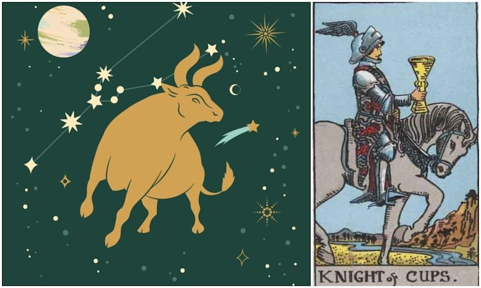 Taurus star sign, at left and Knight of Cups card, at right. Photos: Mixkit, Wikimedia Commons