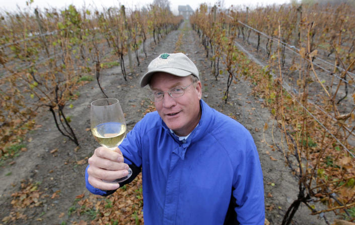 Fred Frank poses for a photo in his vineyard at Dr. Konstantin Frank Vinifera Wine Cellars in Hammondsport, N.Y., Tuesday, Oct. 23, 2012. Frank, grandson of Dr. Konstantin Frank, worries the region's carefully tended reputation is in danger if tourists who make the long trip up from the New York City area and elsewhere have to deal with traffic created by gas drilling. (AP Photo/David Duprey)