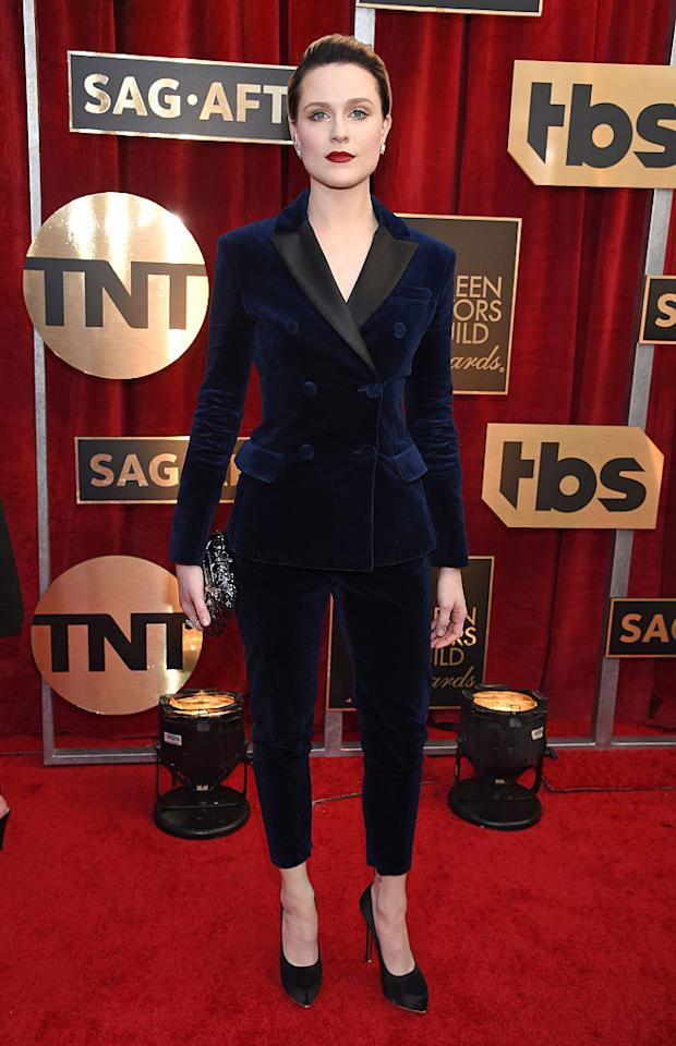 "<p>For the 2017 SAG Awards, the actress donned a velvet double-breasted suit by Altuzarra and finished the look with a bold crimson lip. She accessorised with a pair of Ferragamo heels. In an interview with E!, the 30-year-old explained the reason behind her attire: ""I've always wanted to do it. I promised myself this year that I would wear a suit to every awards show."" <em>[Photo: Getty]</em> </p>"