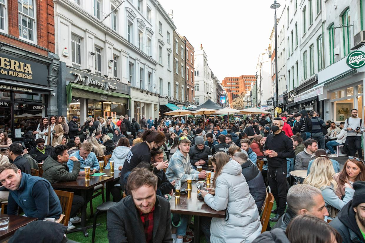 Crowds of people in restaurants and bars in Soho, London, where outdoor seating is allowed following a lift in COVID restrictions. (Photo by Belinda Jiao / SOPA Images/Sipa USA)