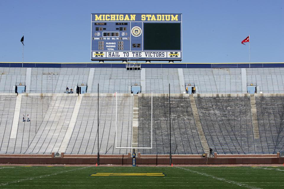 ANN ARBOR - OCTOBER 7: A general view of the scoreboard taken before the game between the Michigan State Spartans and Michigan Wolverines at Wolverine Stadium on October 7, 2006 in Ann Arbor, Michigan. (Photo by: Harry How/Getty Images)