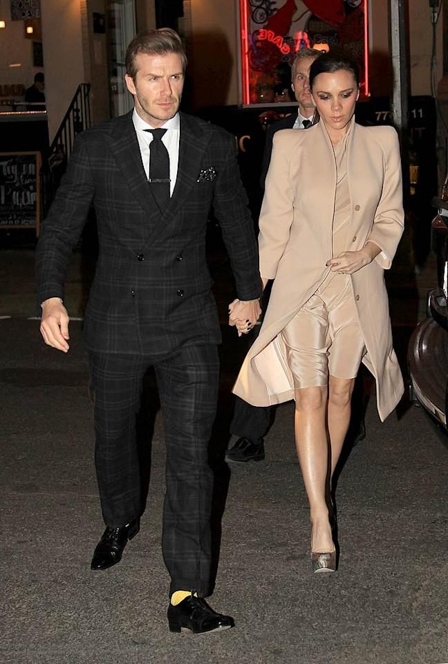 """David Beckham flew in from London to spend the most romantic day of the year with his pregnant wife Victoria. The dapper soccer star took his best girl out for dinner at New York hot spot Minetta Tavern. Do you think Becks' black tartan suit is hot ... or not? Turgeon/Rocke/<a href=""""http://www.splashnewsonline.com"""" target=""""new"""">Splash News</a> - February 14, 2011"""