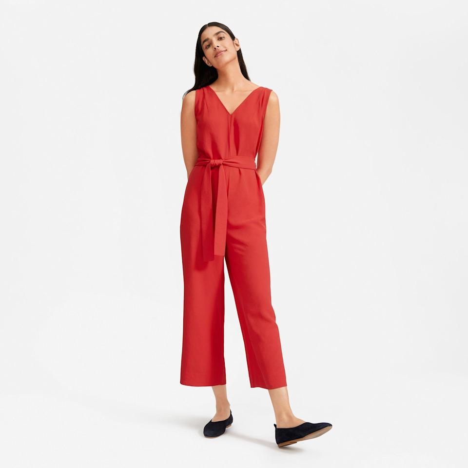 """<p><strong>Everlane</strong></p><p>everlane.com</p><p><strong>$120.00</strong></p><p><a href=""""https://go.redirectingat.com?id=74968X1596630&url=https%3A%2F%2Fwww.everlane.com%2Fproducts%2Fwomens-goweave-essential-jumpsuit-tomato&sref=http%3A%2F%2Fwww.townandcountrymag.com%2Fstyle%2Ffashion-trends%2Fg26522706%2Fbest-dresses-for-older-women%2F"""" rel=""""nofollow noopener"""" target=""""_blank"""" data-ylk=""""slk:Shop Now"""" class=""""link rapid-noclick-resp"""">Shop Now</a></p><p>Sometimes you just have to abandon dresses altogether and test the waters with a sophisticated (but comfy) jumpsuit. </p><p><strong>More:</strong> <a href=""""https://www.townandcountrymag.com/style/fashion-trends/g22805680/jumpsuits-for-weddings/"""" rel=""""nofollow noopener"""" target=""""_blank"""" data-ylk=""""slk:Adorable Jumpsuits to Wear to a Wedding"""" class=""""link rapid-noclick-resp"""">Adorable Jumpsuits to Wear to a Wedding</a></p>"""