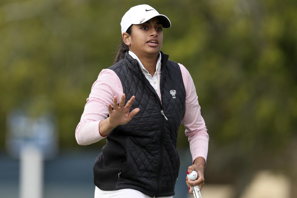 Megha Ganne waves after hit putt on the 16th green during the first round of the U.S. Women's Open golf tournament at The Olympic Club, Thursday, June 3, 2021, in San Francisco. (AP Photo/Jed Jacobsohn)