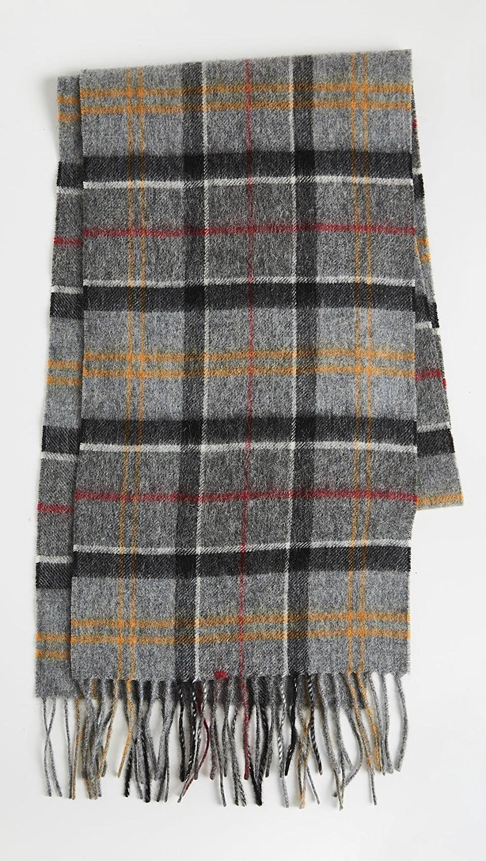 <p>Get all wrapped up in this <span>Barbour Merino Tartan Scarf</span> ($80).</p>