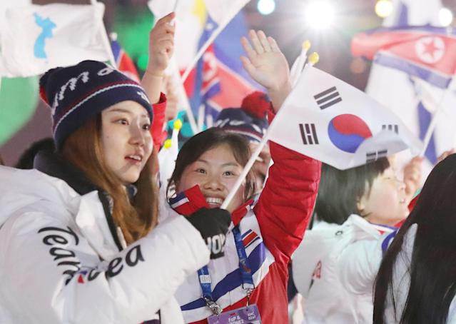 <p>Pyeongchang 2018 Winter Olympics – Closing ceremony – Pyeongchang Olympic Stadium – Pyeongchang, South Korea – February 25, 2018 – The delegation of the unified Korea team during the closing ceremony. REUTERS/Lucy Nicholson </p>