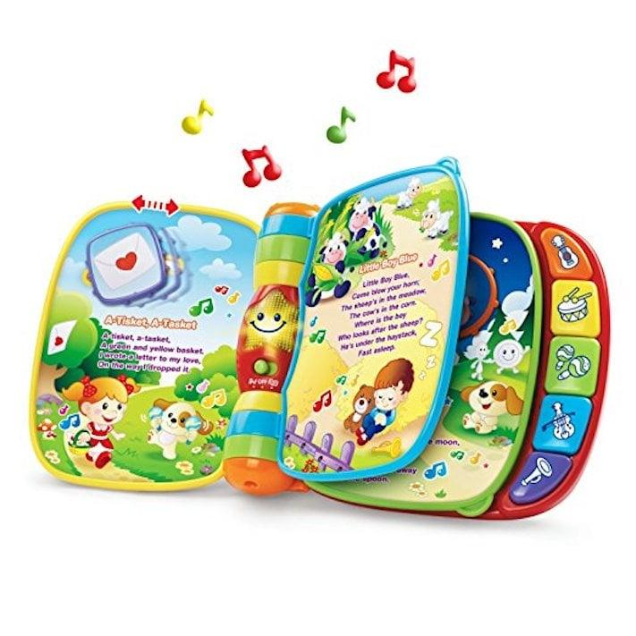 """<p>This <a href=""""https://www.popsugar.com/buy/strongVTech-Musical-Rhymes-Bookstrong-397263?p_name=%3Cstrong%3EVTech%20Musical%20Rhymes%20Book%3C%2Fstrong%3E&retailer=walmart.com&pid=397263&evar1=moms%3Aus&evar9=46016590&evar98=https%3A%2F%2Fwww.popsugar.com%2Fphoto-gallery%2F46016590%2Fimage%2F46016612%2FVTech-Musical-Rhymes-Book&list1=gifts%2Ctoys%2Cgifts%20for%20kids%2Cgifts%20for%20babies&prop13=api&pdata=1"""" rel=""""nofollow"""" data-shoppable-link=""""1"""" target=""""_blank"""" class=""""ga-track"""" data-ga-category=""""Related"""" data-ga-label=""""https://www.walmart.com/ip/VTech-Musical-Rhymes-Book/823829619?wmlspartner=wlpa&amp;selectedSellerId=0&amp;wl13=2648&amp;adid=22222222227253582582&amp;wl0=&amp;wl1=g&amp;wl2=c&amp;wl3=297248883325&amp;wl4=pla-585499866447&amp;wl5=1014221&amp;wl6=&amp;wl7=&amp;wl8=&amp;wl9=pla&amp;wl10=8175035&amp;wl11=local&amp;wl12=823829619&amp;wl13=2648&amp;veh=sem&amp;gclid=EAIaIQobChMIhq7I6aSW3wIVLCCtBh20tQ8gEAQYASABEgKj7fD_BwE"""" data-ga-action=""""In-Line Links""""><strong>VTech Musical Rhymes Book</strong></a> ($14) will keep little ones entertained no matter where you are. It also helps with building fine motor skills by sliding and twisting the play pieces.</p>"""