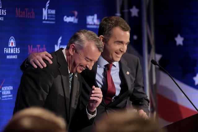Republican Ed Gillespie and Democrat Ralph Northam share a moment of levity before their second gubernatorial debate. (Photo: Washington Post)