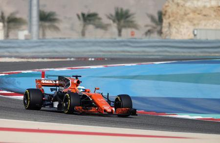 Formula One - F1 - Bahrain Grand Prix - Sakhir, Bahrain - 15/04/17 - McLaren Honda Formula One driver Fernando Alonso of Spain drives during the third practice session. REUTERS/Hamad I Mohammed