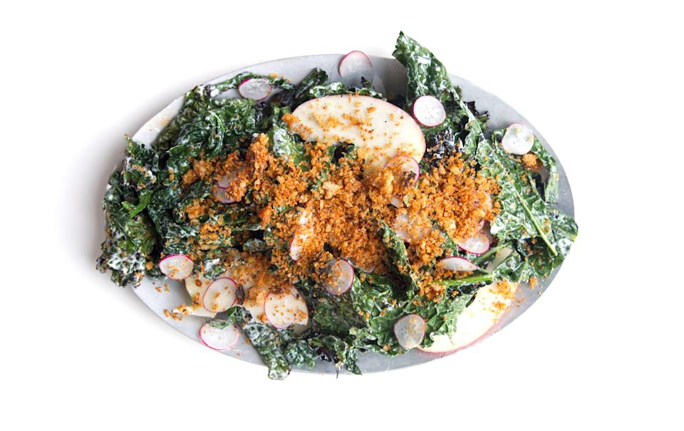 """Grilled salad. It's a thing. This one gets a double dose of smokiness, both from the charred greens and the smoked paprika. <a href=""""https://www.bonappetit.com/recipe/grilled-kale-salad-with-paprika-breadcrumbs?mbid=synd_yahoo_rss"""" rel=""""nofollow noopener"""" target=""""_blank"""" data-ylk=""""slk:See recipe."""" class=""""link rapid-noclick-resp"""">See recipe.</a>"""