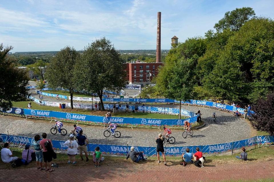 Libby Hill, pictured during a training session on the track of the road race for the UCI Road World Cycling championships, in Richmond, Virginia, on September 24, 2015 (AFP Photo/Dirk Waem)