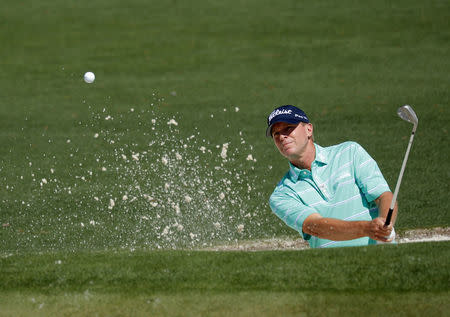 FILE PHOTO: Steve Stricker of the U.S. hits from a bunker on the second green during Tuesday practice rounds for the 2017 Masters at Augusta National Golf Course in Augusta, Georgia, U.S., April 4, 2017. REUTERS/Mike Segar