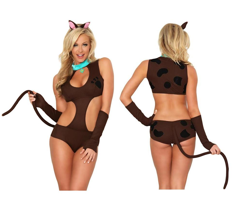 """<p>Ruh-roh, your eyes may burn off seeing <a href=""""https://www.3wishes.com/sexy-costumes/fairy-tale-costumes/cartoon-costumes/doggy-doo-costume/"""" rel=""""nofollow noopener"""" target=""""_blank"""" data-ylk=""""slk:this wretched (and wholly unauthorized) take"""" class=""""link rapid-noclick-resp"""">this wretched (and wholly unauthorized) take</a> on the classic cartoon character. There is literally zero need to make a dumb but lovable cartoon dog """"sexy."""" The tail is gross, the satin blue """"collar"""" is gross, and what's with the paw print on the chest? That's a mystery we don't need solved, actually.<br>(Photo: 3wishes.com) </p>"""