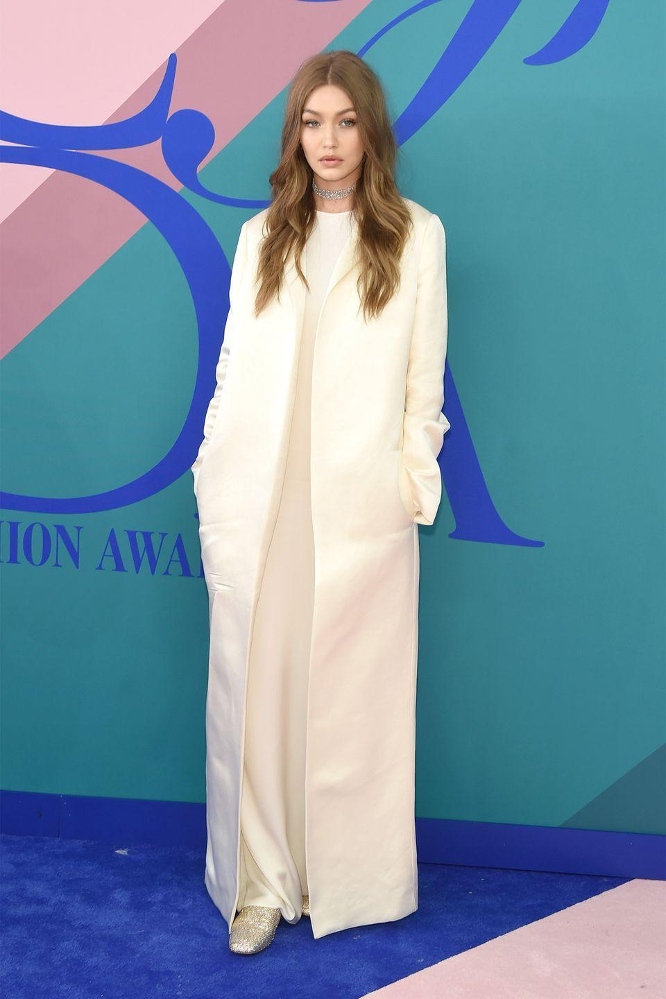 <p>In the Row and Stuart Weitzman shoes at the 2017 CFDA Fashion Awards in NYC.</p>