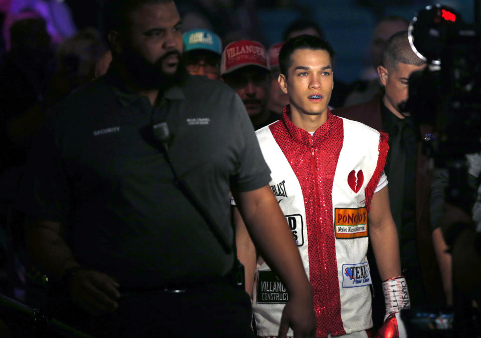 LAS VEGAS, NEVADA - NOVEMBER 23:  Brandon Figueroa arrives for his super bantamweight bout against Julio Ceja at MGM Grand Garden Arena on November 23, 2019 in Las Vegas, Nevada.  (Photo by Steve Marcus/Getty Images)