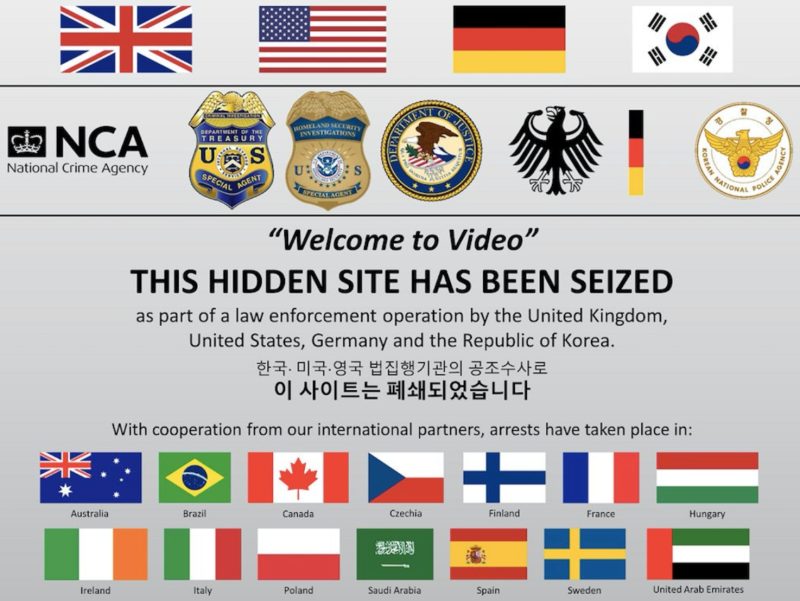 Welcome to Video has been seized as part of a law enforcement operation