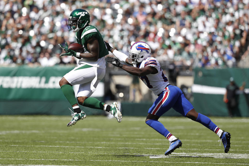 Josh Bellamy #15 of the New York Jets makes a catch against Tre'Davious White #27 of the Buffalo Bills during the first quarter at MetLife Stadium on September 08, 2019 in East Rutherford, New Jersey. (Photo by Michael Owens/Getty Images)