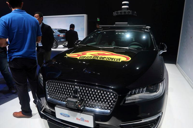 FILE PHOTO: Lincoln car with self-driving equipment developed by Ford and Baidu is seen at a product launching event in Shanghai