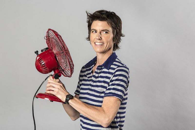 "This 2012 photo released by The Daily shows comedian Tig Notaro.  After starting her comedy routine with ""Good evening! Hello. I have cancer. How are you?"", Notaro launched into a 30-minute performance that immediately became legendary in comedy circles and that's now available as an unlikely live album via a $5 digital release by comedian Louis C.K. In just a week, it's sold more than 60,000 copies. (AP Photo/Kate Lacey for The Daily)"