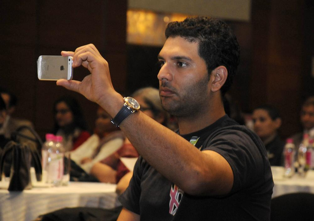 GURGAON, INDIA - FEBRUARY 4: Cricketer and cancer survivor Yuvraj Singh in a Cancer survivor program on World Cancer Day on February 4, 2013 in Gurgaon, India. (Photo by Parveen Kumar/Hindustan Times)