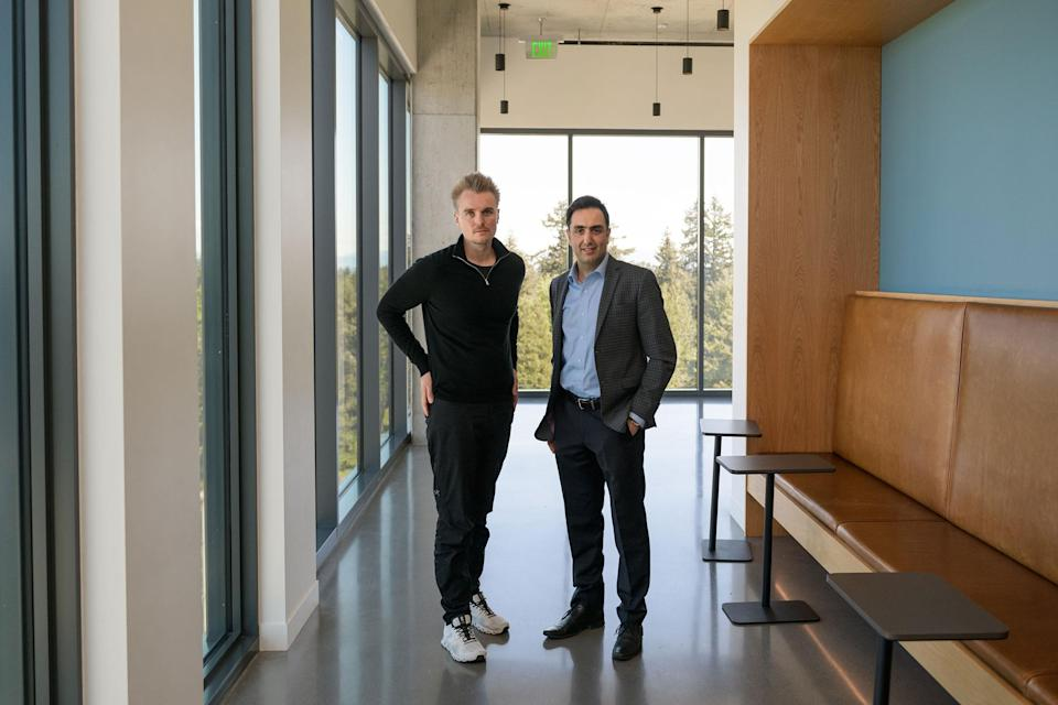 """Phillip Buckendorf, Airspace Intelligence CEO and co-founder and Pasha Saleh, Alaska Airlines flight operations strategy and innovation director.<span class=""""copyright"""">Chona Kasinger for TIME</span>"""