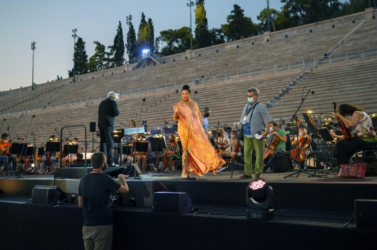 """The Greek National Opera said it chose """"the biggest and safest open-air space in Athens"""" to reassure audiences fearful about infections"""