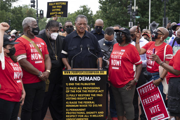 Rev. Jesse Jackson speaks to the crowd during a demonstration supporting voting rights on Capitol Hill, in Washington, Monday, Aug. 2, 2021. (AP Photo/Jose Luis Magana)